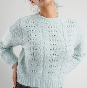 Garage Pointelle Pullover Chunky Knit Sweater XS